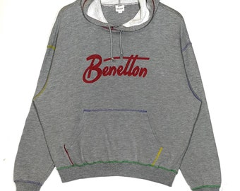 Rare!! On Sale!! Vintage BENETTON Sweatshirt United Colors Of Benetton Embroidered Logo Multicolor Logo Spellout Activewear 6VeG5LM