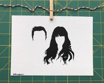 Nick & Jess New Girl silhouette art print