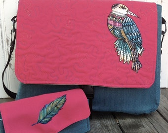 Whimsical Bird Messenger Bag and Feather Wallet Clutch Set