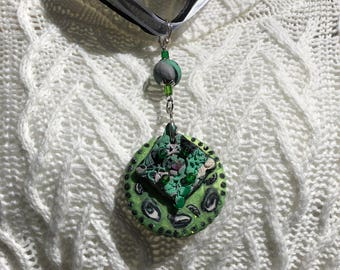 Round Pendant Necklace, Ribbon and Cord Chain, Diamond Shaped Textured Inlay, Green and Black