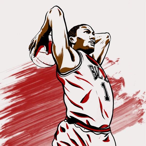Derrick rose chicago bulls nba illustrated print limited zoom voltagebd Choice Image