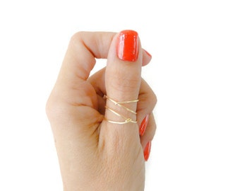 Criss Cross Gold Filled Ring Thumb Ring Index Ring Mid Finger Ring For Women