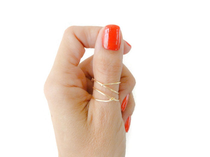 Criss Cross Gold Filled Ring Thumb Ring Index Ring Mid Finger