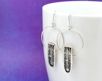 feather earrings | bohemian jewelry | silver hoop earrings | hippie jewelry | gypsy jewelry | tribal earrings | boho earrings | big hoops