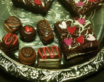 "Valentine's Day Frosted Brownie set for American Girl or 18"" dolls."