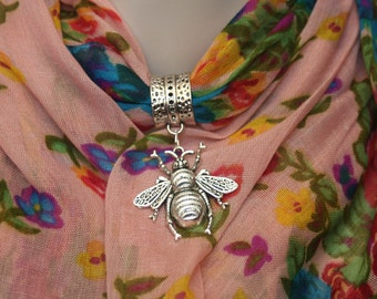 Soft Jeweled Scarf light rose floral with metal bee pendant