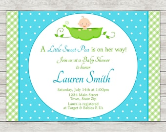 Sweet Pea Baby Shower Invitation, Baby Boy Shower Invitation - Digital File (Printing Services Available)