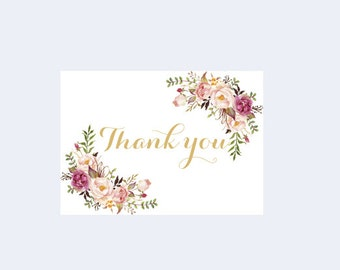 Printable Thank you, Floral Thank you card, Gold thank you card, Wedding printables, Boho Thank you, Rustic Thank you, Wedding thank you