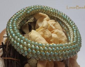 Light green crochet beaded bracelet, beadwork, handmade, Toho beads