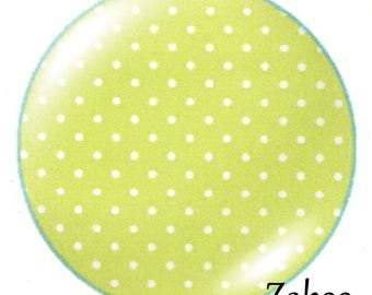 1 cabochon 30mm glass, dots, green