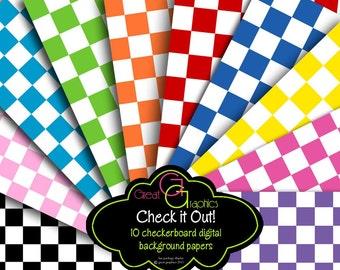 Checkerboard Digital Paper Checkered Paper Background Paper Party Paper Red Checkered Paper Checker Board Instant Download
