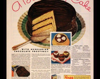 1932 Bakers Chocolate Ad with Busy Day Cake Recipe - Wall Art - Kitchen - Home Decor - Retro Vintage Food Advertising