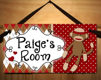 Sock Monkey DOOR SIGN Girls Boys Bedroom and Baby Nursery Kids Bedroom Wall Art DS0101