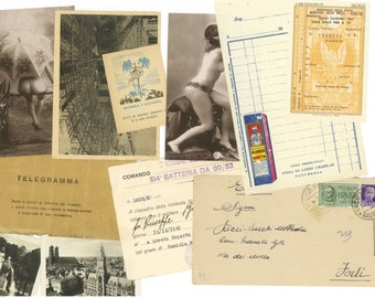 10 Mixed Italian ephemera paper pack - Memorabilia from Italy - Assorted selection of vintage papers from past