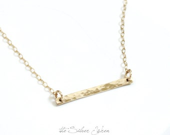 Perfect Layering Necklace, Simple Necklace, Dainty Necklace, Petite Bar Necklace, Gold, Rose or Silver, The Silver Wren