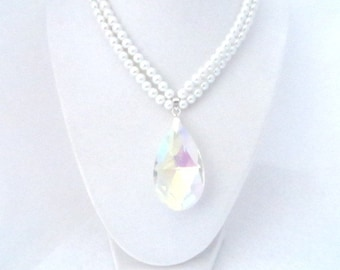 Celebrity Necklace Large Crystal Pendant Statement Necklace Frozen Ice Christmas Gift Wedding Necklace Bridal Jewelry Bride Necklace Bling