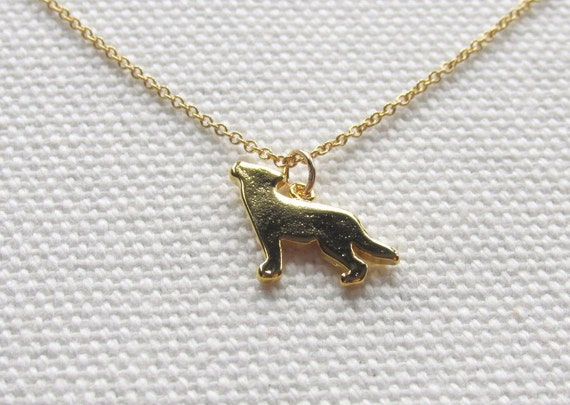 Gold Wolf Necklace 14k Gold Fill Chain Tiny Petite Simple