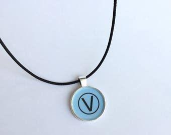 Blue Vegan Symbol Pendant Necklace