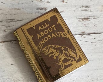 "Miniature Book, ""All About Dinosaurs"", Dollhouse Miniature, 1:12 Scale, Dollhouse Book, Mini Book"