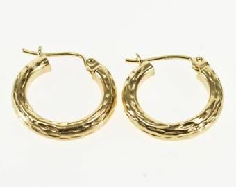 14k Textured Diamond Cut Pattern Hollow Tube Hoop Earrings Gold