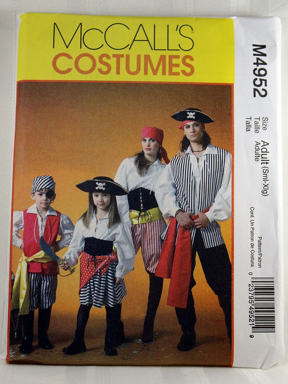 McCall\'s 4952, Costume Sewing Pattern, Pirate Adult Costume Pattern ...
