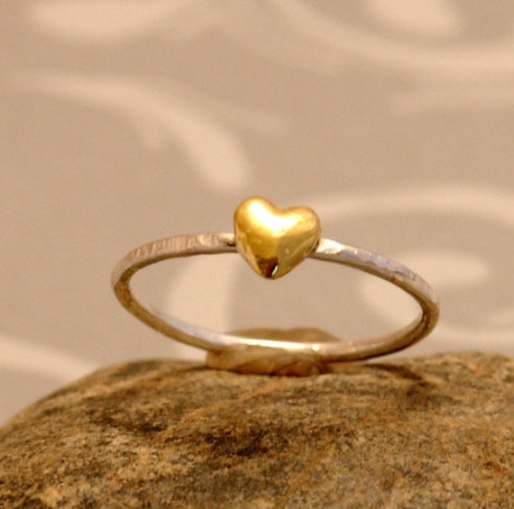 Gold Heart Ring Thin Silver Ring Delicate Band Ring The