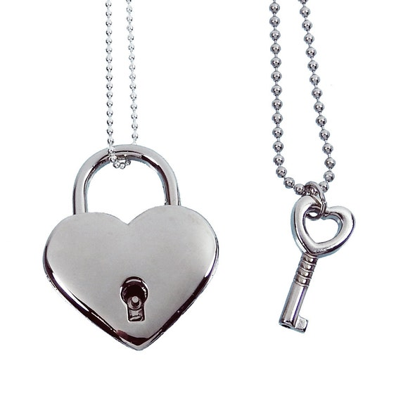 Silver heart lock and key couples necklace real working lock like this item aloadofball Gallery