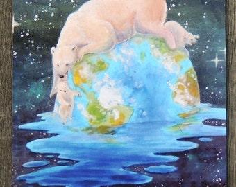 Global Warming Polar Bear and Cubs Postcard