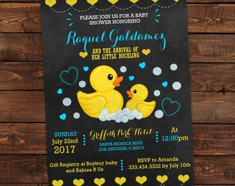 Duck baby shower etsy rubber duck baby shower invitation printable baby shower invitation boy chalkboard rubber duck filmwisefo Image collections