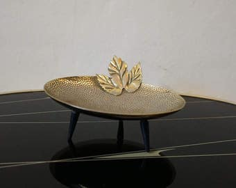 Mid Century Brass Leaf Trinket Ring Dish Soap