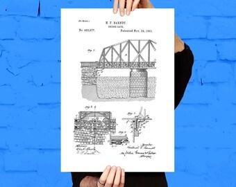 Bridge blueprint etsy bridge gate patent bridge gate poster bridge gate blueprint bridge gate print malvernweather Choice Image