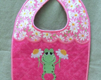 Machine Embroidery Design-ITH-Newborn Baby Bib-Girl Frog Holding Daisies for 5x7 minimum hoop size.