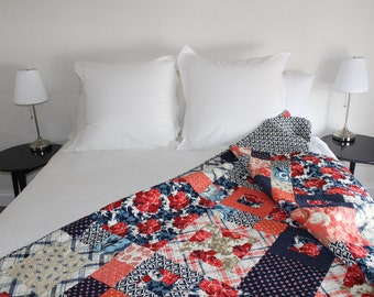 Queen Bed Quilt, Roses, Boxes, Made to Order