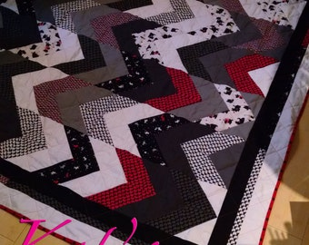 Quilt with Scottish Terriers | Scottie Themed Handmade Quilt with red, black, white and gray | Scottish Terrier Blanket or Throw