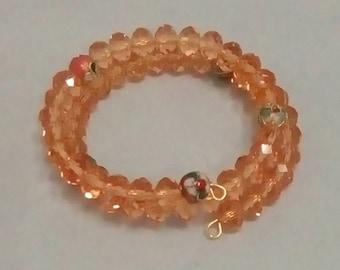 Wrist Wrap Bracelet, Peach Crystal Glass with Cloisonne Beads