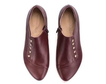 Wine leather flat shoes, handmade shoes, Grace Bordeaux