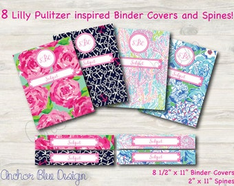8 Lilly Pulitzer Inspired Monogrammed Binder Covers and Matching Spines PDF