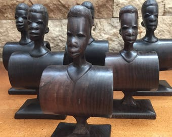 Set of Six African Mask Hand Carved Napkin Rings