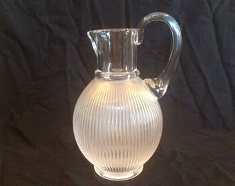 LALIQUE - Crystal Langeais Pitcher - Frosted Ribbed Body - model 153720 - absolutely mint condition