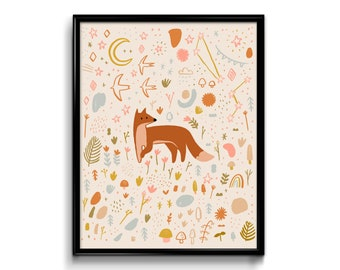 Woodland Red Fox Art Print- poster design woodland folk art whimsical watercolor nursery decor home baby room gift floral wall