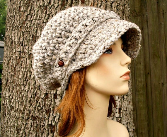 Crochet Hat Womens Hat Grey Hat Grey Newsboy Hat - Crochet Newsboy Hat in Grey Marble Tweed Crochet Hat - Grey Beanie Womens Accessories