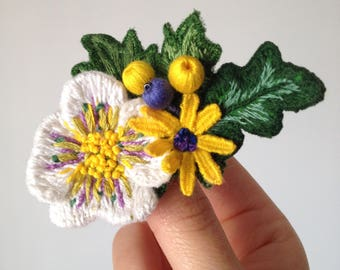 Little branch embroidered brooch. White flower, yellow loves me not, berries and leaves. Embroidery jewelry.