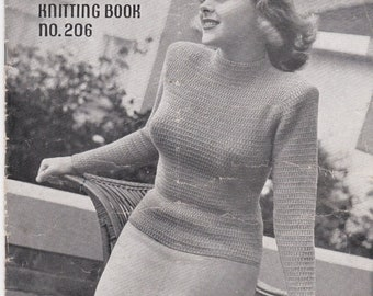 ON SALE Vintage 1940s - Paton's Knitting Pattern No 206 For Women/Ladies - Original Pattern