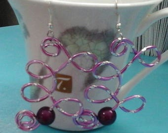 B earrings crafted aluminum wire 2mm Lavender Quartet