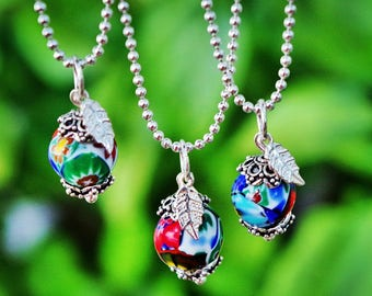 """Boho Vintage Millefiore Murano Glass Bead in Sterling Silver + 16 """" Chain Necklace - Boho Chic, Rainbow, Layering Necklace, Gypset"""