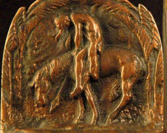 Vintage Bronze Bookends End of the Trail
