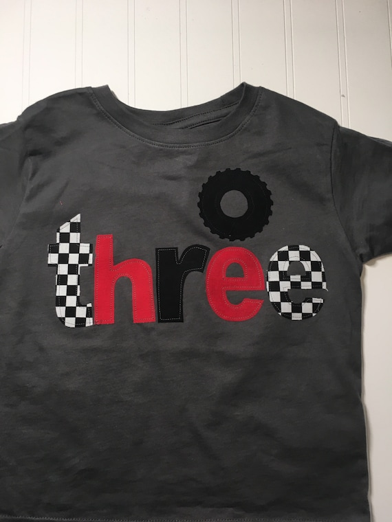 Racecar birthday shirt, three 3rd birthday monster truck wheel birthday, boys birthday shirt, wheel race car, checkered race flag, boys birt