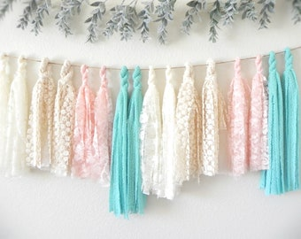 Fabric Tassel Garland Banner Wedding, Rustic Bridal Shower Decorations, Shabby Chic Girl Baby Shower, Pink Aqua Nursery Decor, Boho Bunting