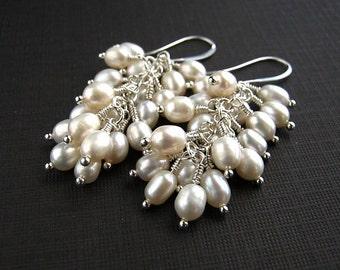 White Freshwater Pearl Cluster Earrings White Pearl Bridal Earrings Pearl Cluster Wedding Earrings
