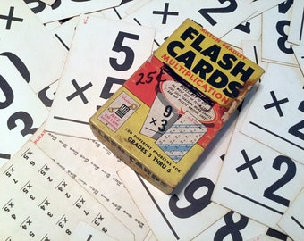 48 Flash Cards, Vintage Sixties Math Multiplication Cards, Educational, Craft Supply, Mixed Media, Scrap-booking, Farmhouse Rustic Decor